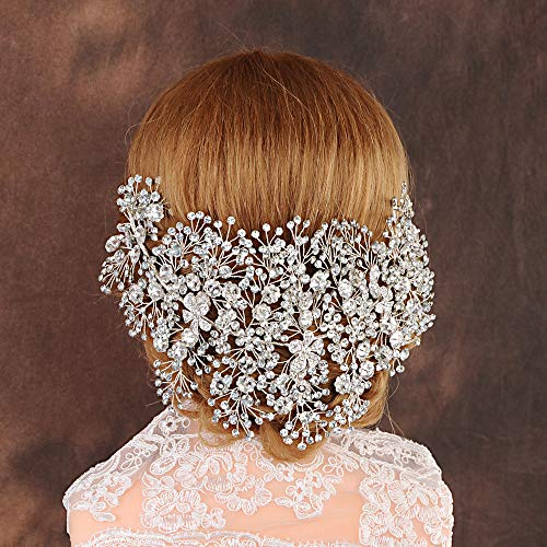 ZHENM Silver Wedding Headband for Brides Bridal Headpiece