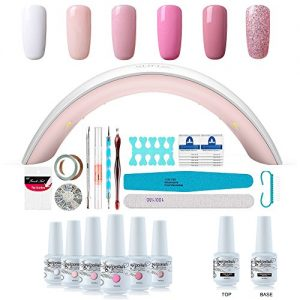 Gel Nail Polish Starter Kit - 6 Colors Gel Polish Set Base Top Coat