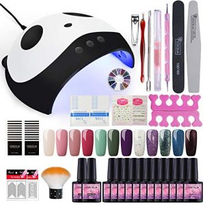 Fashion Zone 12 Colors Gel Nail Polish Starter Kit 36W Nail Lamp Dryer