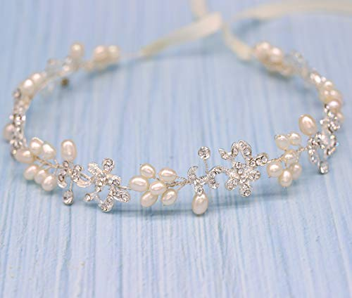Ammei Silver Luxury Bridal Headbands With Genuine Freshwater Pearls
