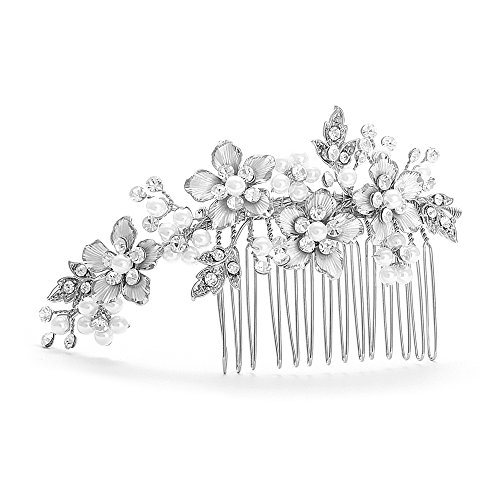 Mariell Brushed Silver Handmade Austrian Crystal & White Pearl Wedding Comb