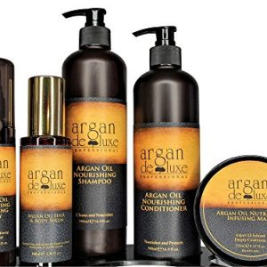 Argan deluxe 100% Pure Organic Moroccan Argan Oil Luxury Hair Care Bundle