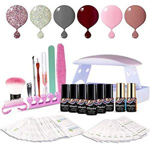 Maphie Gel Nail Starter Kit with UV Light, Mini 6 6ml Soak Off Gel Nail Polish