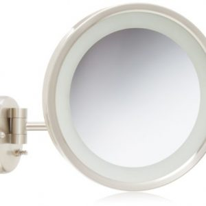 Jerdon 9.5-Inch LED Lighted Wall Mount Makeup Mirror with 5x Magnification