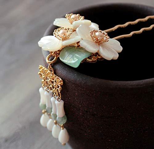 Original Handmade Brass Classical Hair Clasp Shell Pearl Decor Chinese