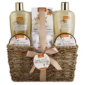 Home Spa Gift Basket - White Rose & Jasmine - Luxurious 11 Piece Bath & Body Set
