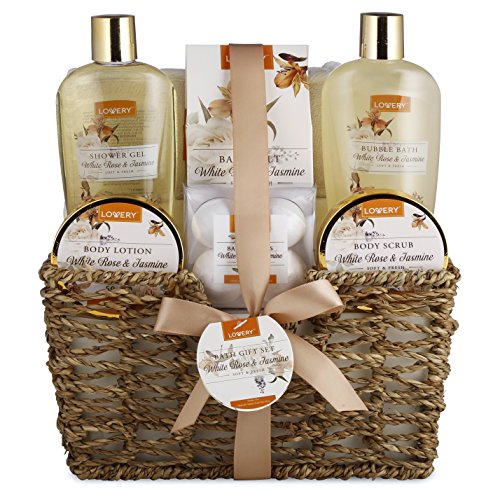 Home Spa Gift Basket - White Rose & Jasmine - Luxurious 11 Piece Bath & Body Set