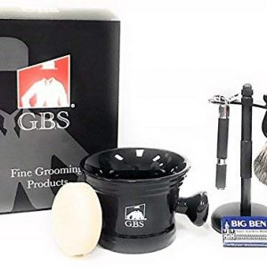 GBS Mens Grooming Set Butterfly Open Double Edge Razor Badger Shave Brush