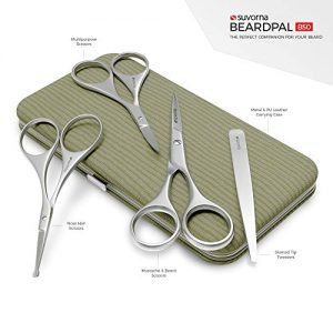 "Suvorna Men's 4 Pcs Facial Hair Scissors Set/Kit. Contains 4.5"" Mustache & Beard"