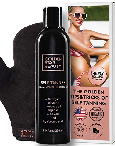 Self Tanner with Tanning Mitt - Sunless Tanning Lotion w/Hyaluronic Acid
