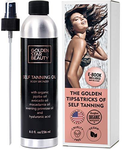 Self Tanner - Sunless Tanning Oil, Organic Spray Tan w/Hyaluronic Acid