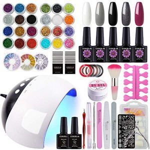 Coscelia 5 Colors Gel Nail Polish Kit with 24W LED Nail Dryer
