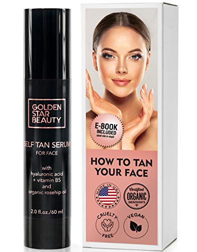 Self Tanner - Facial Sunless Tanner w/Hyaluronic Acid and Organic Oils