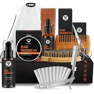 MayBeau Upgraded Mens Beard Grooming Kit,Straight Razor