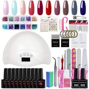 Saint-Acior 10 Colors Gel Nail Polish Kit with 48W LED Nail Lamp