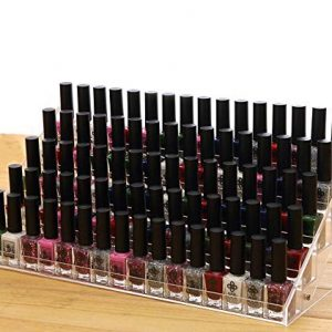 Cq acrylic 72 Bottles of 5 Layers Nail Polish Rack-Clear Nail Polish Display