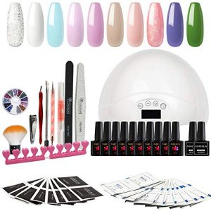 Gel Nail Polish Kit with UV light - Soak Off Gel Base Top Coat