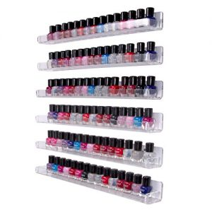 Femeli Acrylic Nail Polish Rack Organizer ,Wall Mounted Clear Floating