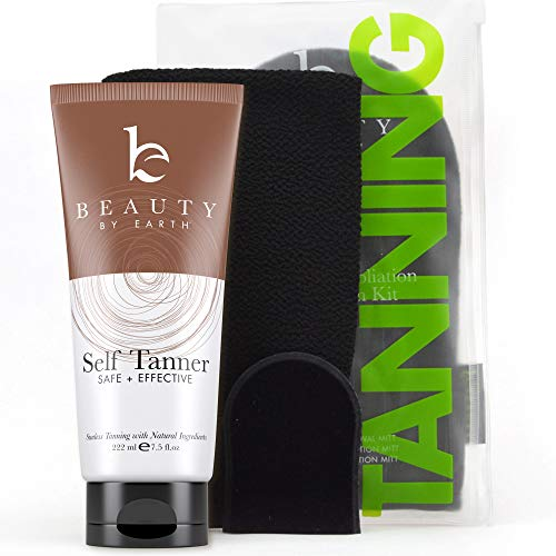 Self Tanner & Tanning Mitt Set - With Natural Tanning Lotion