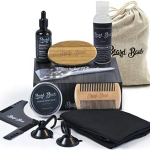 Beard Grooming Kit for Men with Brush and Comb, Unscented Beard Oil
