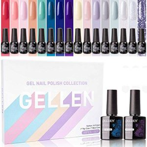 Gellen Gel Nail Polish Kit 16 Colors With Top Base Coat