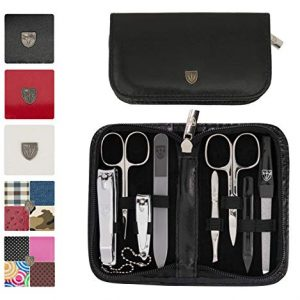 3 Swords Germany - brand quality 8 piece manicure pedicure grooming kit set for professional finger & toe nail care scissors clipper fashion leather case in gift box, Made in Solingen Germany (21309)