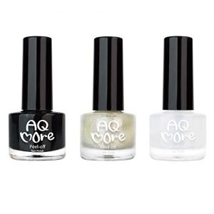AQMORE Non Toxic Water Based Peel Off Nail Polish (Glitter)