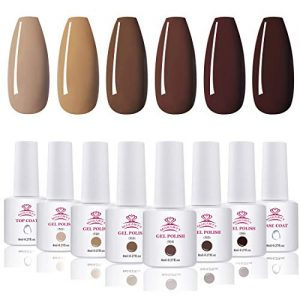 Makartt Gel Nail Polish Kit - 6 Fall Winter Colors UV Nail Gel Polish Classic Brown Colors Base Coat Top Coat Gel Kit, 8ML Bottles Soak Off Gels Thanksgiving Christmas Gift for Women P-51