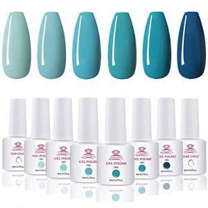 Makartt Gel Nail Polish Kit - 6 Blue Fall Winter Colors UV Nail Gel Polish