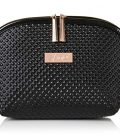 Luxury Designer Black Makeup Bag - Cruelty-Free Synthetic Patent Leather