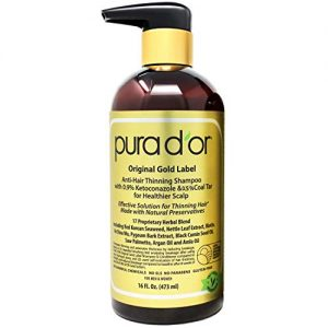 PURA D'OR Anti-Hair Thinning Shampoo w/ 0.9% KETO-CONAZOLE & 0.5% Coal Tar