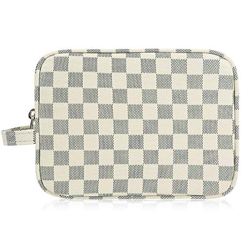 AMRA Luxury Checkered Make Up Bag | PU Vegan Leather Cosmetic