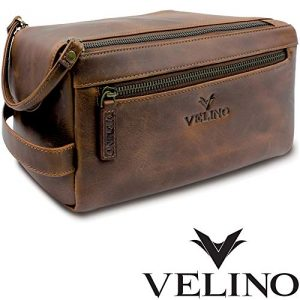 Velino Handmade Genuine Buffalo Leather Unisex Toiletry Bag Travel