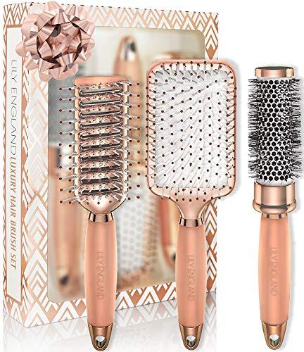 Lily England Rose Gold Hair Brush Set - Luxury Professional Hairbrush Gift Set
