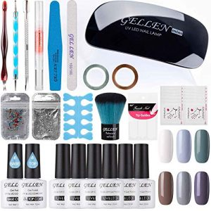 Gellen Gel Nail Polish Starter Kit With Nail Dryer Light- Selected 6 Colors Cold Tone Grays, With Top Base Coats Shiny Rhinestones Nail Art Designs Manicure Tools For Travel