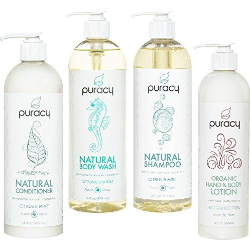Puracy Organic Hair & Skin Care Set, Natural Body Wash
