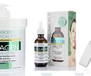 Advanced Clinicals Collagen Skin Care Set. 16oz Collagen Cream