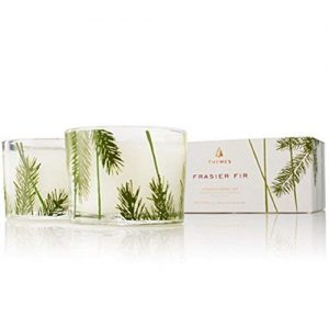 Thymes Frasier Fir Poured Candle Set, Pine Needle Design