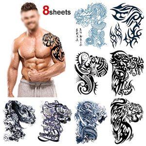 Konsait Large Temporary Tattoos Half Arm Chest Tattoo Men Tribal Totem Tattoo