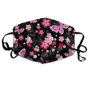 Face Masks, Breathable Dust Filter Masks Medical Mask Mouth Cover Masks with Elastic Ear Loop (Black Red Flower)