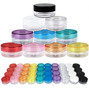 Beauticom 40 Pieces 3G/3ML Empty Clear Container Jars with MultiColor Lids