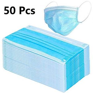 50Pcs Disposable 3-Layer Masks, Anti Dust Breathable Disposable Earloop Mouth Face Mask, Comfortable Medical Sanitary Surgical Mask (Blue)