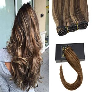 Sunny 22inch Blonde Human Hair Weft Extensions with Dark Brown 100% Real