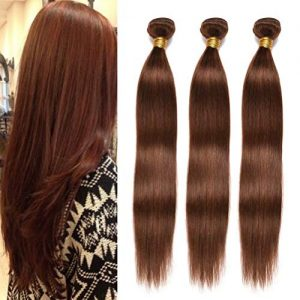 FEEL ME Brazilian Human Hair Weave Bundles 8a Grade Color 4 Light Brown