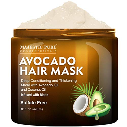 MAJESTIC PURE Avocado and Coconut Hair Mask for Dry Damaged Hair
