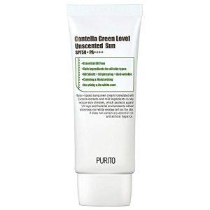 PURITO Centella Green Level Unscented Sun SPF50+ PA++++ 60ml / 2 fl.oz Coral reef safe sunscreen, Sun cream for face, Cica, UVA1,2 UVB, Broad spectrum, Lightweight, Sensitive skin, Essential Oil Free