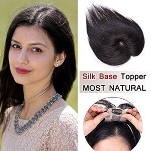 SEGO 100% Density Top Hair Pieces Silk Base Crown Topper Human Hair Clip