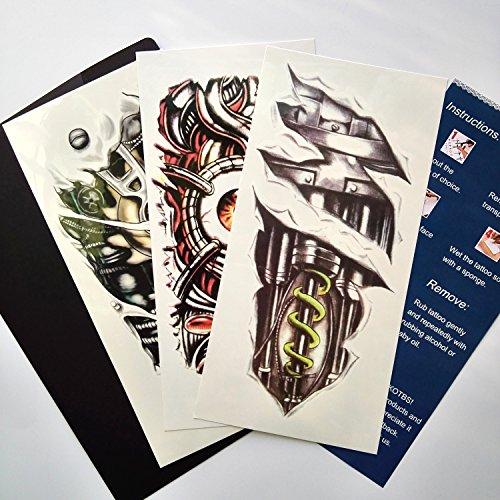 Kotbs 3 Sheets Mix Robot Arm Body Sticker Tattoo Art Make up for Men