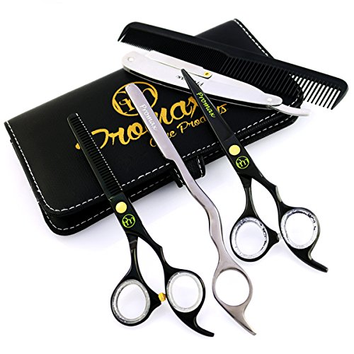 ProMax Barber Hair Cutting Shears 5 PCs Set- Made of Japanese Black Titanium