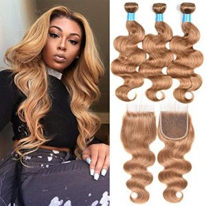 Valentines Day Gifts JulyQueen Brazilian Human Virgin Hair Honey Blonde Color